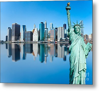 Metal Print featuring the photograph Manhattan Liberty by Luciano Mortula