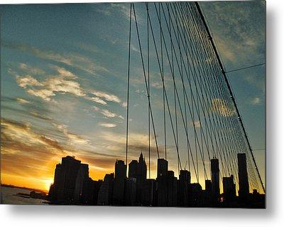 Manhattan Through The Bridge Metal Print by Alex AG