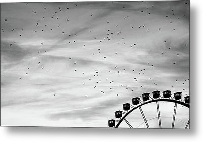 Many Birds Flying Over Giant Wheel In Berlin Metal Print