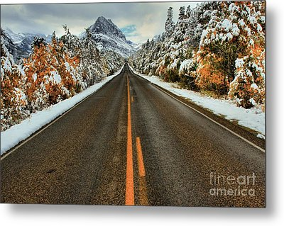 Many Glacier Road Metal Print by Adam Jewell