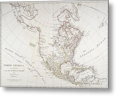 Map Depicting North America As Divided By The European Powers Metal Print by American School