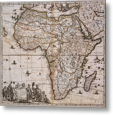 Map Of Africa, 1688 Metal Print by Photo Researchers