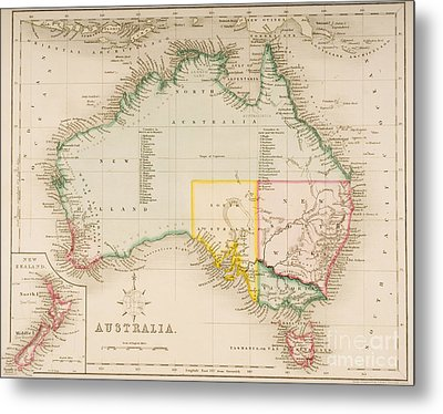 Map Of Australia And New Zealand Metal Print by J Archer