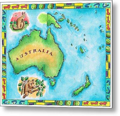 Map Of Australia Metal Print by Jennifer Thermes