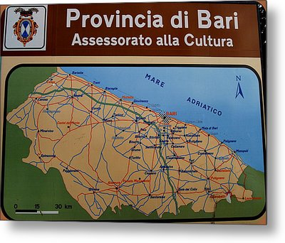 Map Of Bari Italy Metal Print