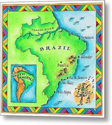 Map Of Brazil Metal Print by Jennifer Thermes