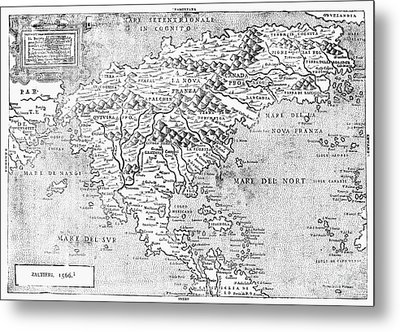 Map Of New France, 1566 Metal Print by Granger