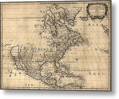 Map Of North America Continent Showing Metal Print by Everett