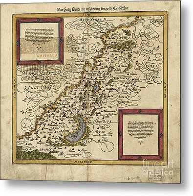 Map Of Palestine, 1588 Metal Print by Photo Researchers