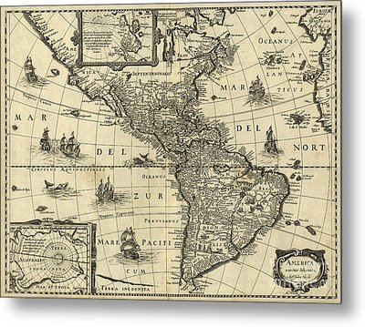 Map Of The Americas 1640 Metal Print by Photo Researchers