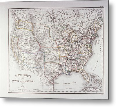 Map Of The Northen United States Metal Print by Fototeca Storica Nazionale