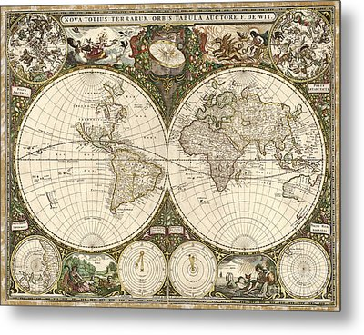 Map Of The World, 1660 Metal Print by Photo Researchers