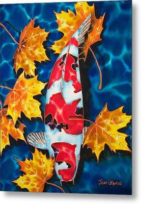 Maple Leaves And Koi Metal Print by Daniel Jean-Baptiste