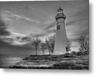 Marblehead Lighthouse In Black And White Metal Print by At Lands End Photography