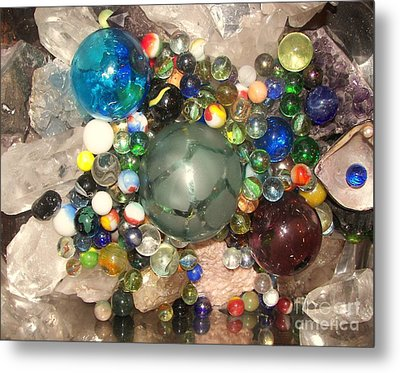Marbles And Other Things Shiny Metal Print by Rachel Carmichael