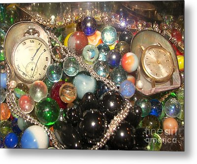 Marbles And Pocket Watches Metal Print by Rachel Carmichael