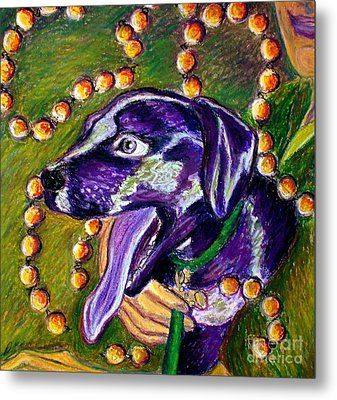 Metal Print featuring the painting Mardi Dog by D Renee Wilson
