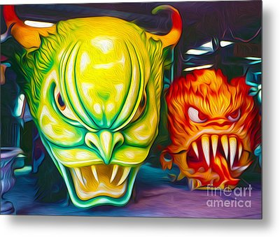 Metal Print featuring the painting Mardi Gras Devils by Gregory Dyer