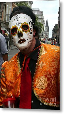 Metal Print featuring the photograph Mardi Gras Man In Mask by Jeanne  Woods