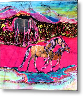 Mare And Foal Metal Print by Carol Law Conklin