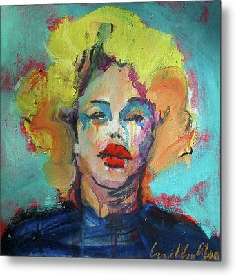Metal Print featuring the painting Marilyn 2010 by Les Leffingwell