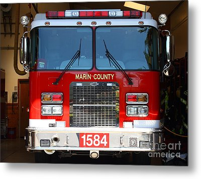 Marin County Fire Department Fire Engine . Point Reyes California . 7d15921 Metal Print by Wingsdomain Art and Photography