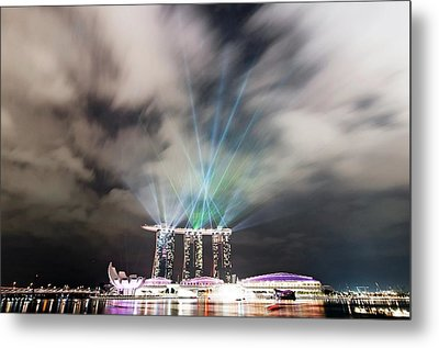 Marina Bay Colourful Night Metal Print by Paul Biris