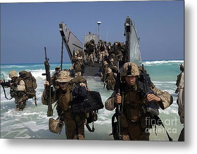 Marines Disembark A Landing Craft Metal Print by Stocktrek Images