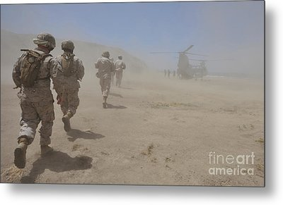 Marines Move Through A Dust Cloud Metal Print by Stocktrek Images