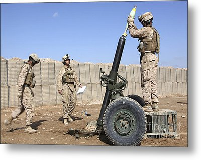 Marines Prepare To Fire A 120mm Mortar Metal Print by Stocktrek Images