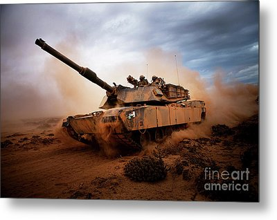 Marines Roll Down A Dirt Road Metal Print by Stocktrek Images