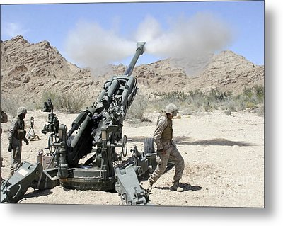 Marines Shoot 100-pound Rounds Metal Print by Stocktrek Images