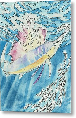 Metal Print featuring the painting Marlin by Jenn Cunningham