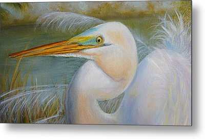 Metal Print featuring the painting Marsh Master by Marlyn Boyd