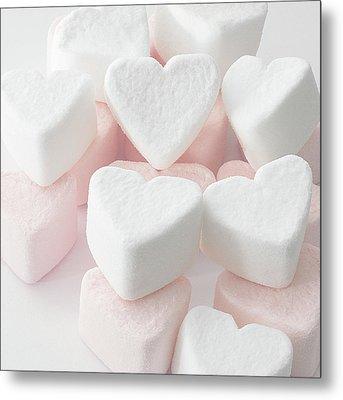 Marshmallow Love Hearts Metal Print by Kim Haddon Photography