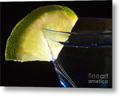Martini Cocktail With Lime Wedge On Blue Glass Metal Print