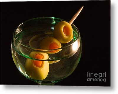 Martini Cocktail With Olives In A Green Glass Metal Print