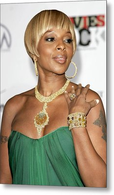 Mary J. Blige At Arrivals For Movies Metal Print by Everett
