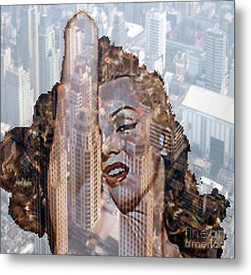 Marylin And City Metal Print