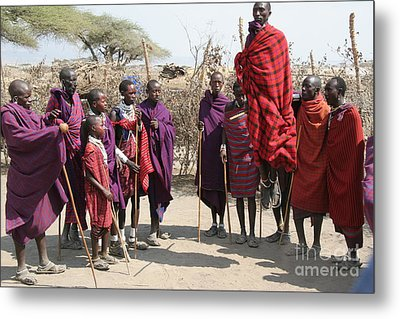 Masai Warriors Jumping Metal Print by Scotts Scapes