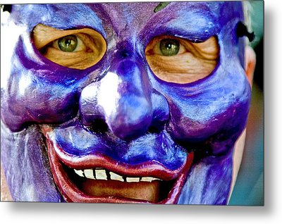 Mask At New Orleans Mardi Gras Parade, New Orleans, Louisiana, United States Of America, North America Metal Print by Ray Laskowitz