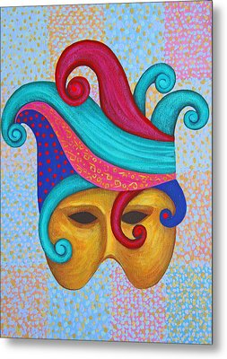 Mask With  Head Dress Metal Print
