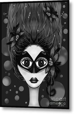 Masquerade Bw Metal Print