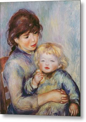 Maternity Or Child With A Biscuit Metal Print by Pierre Auguste Renoir