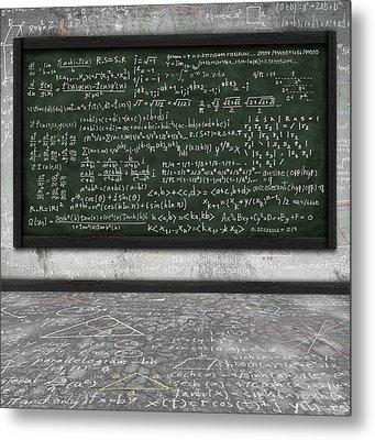 Maths Formula On Chalkboard Metal Print by Setsiri Silapasuwanchai