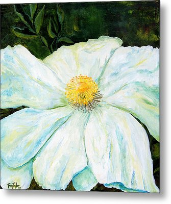 Metal Print featuring the painting Matilija Poppy by Terry Taylor