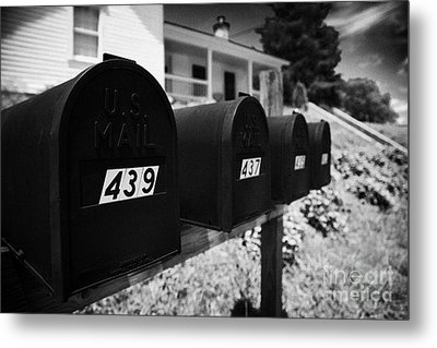 matt black american private mailboxes in front of houses Lynchburg tennessee usa Metal Print by Joe Fox