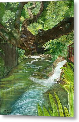 Metal Print featuring the painting Maya Ubud Tree Bali Indonesia by Melly Terpening