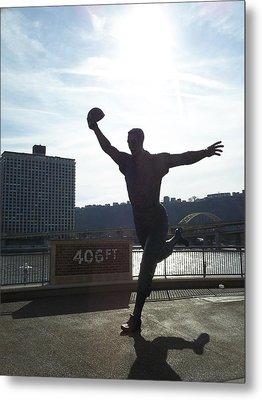 Mazeroski Statue In Pittsburgh Metal Print by Tiffney Heaning