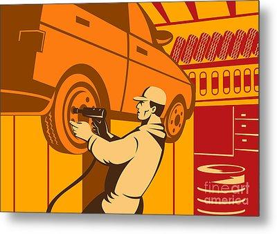 Mechanic Automotive Repairman Retro Metal Print by Aloysius Patrimonio